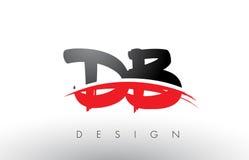 Brosse Logo Letters du DB D B avec l'avant de brosse de bruissement de rouge et de noir illustration stock
