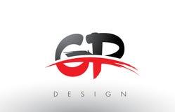Brosse Logo Letters du généraliste G P avec l'avant de brosse de bruissement de rouge et de noir Illustration de Vecteur