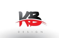 Brosse Logo Letters du KB K B avec l'avant de brosse de bruissement de rouge et de noir Image stock
