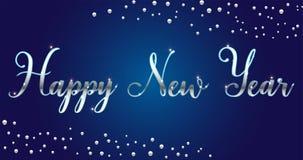 Brosse lumineuse argentée de bonne année de vecteur marquant avec des lettres le texte sur le fond bleu, pour des salutations, ca images libres de droits