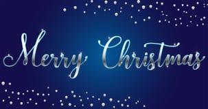 Brosse lumineuse argentée de Joyeux Noël de vecteur marquant avec des lettres le texte sur le fond bleu, pour des salutations, ca photo stock