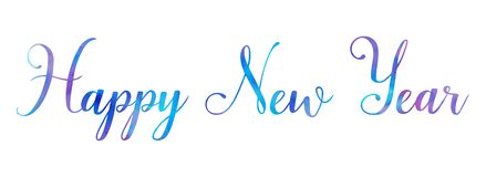 Brosse lumineuse de bonne année d'aquarelle de vecteur marquant avec des lettres le texte sur le fond blanc, pour pour des saluta photographie stock libre de droits