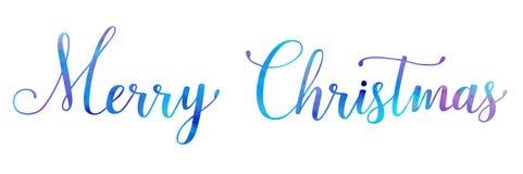 Brosse lumineuse de Joyeux Noël d'aquarelle de vecteur marquant avec des lettres le texte sur le fond blanc, pour pour des saluta images libres de droits
