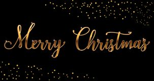 Brosse lumineuse de Joyeux Noël d'or de vecteur marquant avec des lettres le texte sur le fond noir, pour des salutations, cartes photo libre de droits