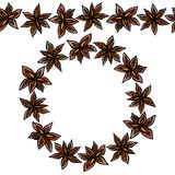 Brosse sans fin de modèle, guirlande ronde avec avec Anise Star Seeds Cadre de guirlande ou de cercle de fond d'assaisonnements V illustration stock