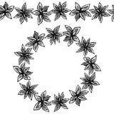 Brosse sans fin de modèle, guirlande ronde avec avec Anise Star Seeds Cadre de guirlande ou de cercle de fond d'assaisonnements V illustration de vecteur