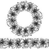 Brosse sans fin de modèle, guirlande ronde avec Anise Star Seeds, morceaux d'Apple découpé, cosse de vanille, clous de girofle Ca illustration libre de droits