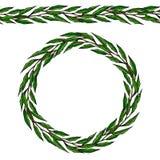 Brosse sans fin de ruban de feuille de Green Bay Laurel Round Wreath Frame avec un espace pour le texte Calibre de récolte de fer Photos stock