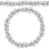 Brosse sans fin de ruban de feuille de Green Bay Laurel Round Wreath Frame avec un espace pour le texte Calibre de récolte de fer Photos libres de droits