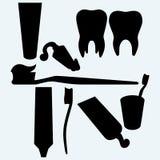 Brosses à dents, pâte dentifrice et dent humaine illustration stock