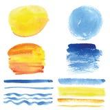 Brosses d'aquarelle, cadre de cercle Cyan, jaune Été illustration libre de droits