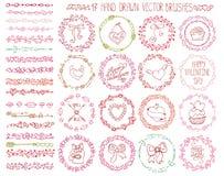 Brosses de griffonnage de coeur d'amour Valentine, épousant la guirlande illustration libre de droits