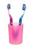 Brosses à dents dans la cuvette Photographie stock libre de droits