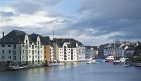 The Brosundet canal in Alesund Royalty Free Stock Photos