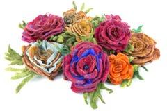 Broszka fulled wełna w postaci kwiatów Fotografia Stock