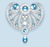 broszka z perłami i cennymi kamieniami Filigree v Obraz Stock