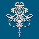 broszka z perłami i cennymi kamieniami Filigree v Obrazy Stock