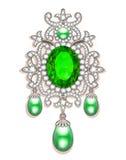 broszka z perłami i cennymi kamieniami Filigree v Fotografia Royalty Free