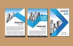 Broszurka projekt, okładkowy nowożytny układ, sprawozdanie roczne, plakat, ulotka w A4 z kolorowymi trójbokami, geometryczni kszt zdjęcie stock