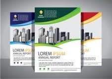 Broszurka projekt, okładkowy nowożytny układ, sprawozdanie roczne, plakat, ulotka w A4 z kolorowym trójbokiem zdjęcie stock