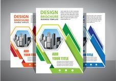 Broszurka projekt, okładkowy nowożytny układ, sprawozdanie roczne, plakat, ulotka w A4 z kolorowym trójbokiem obraz stock