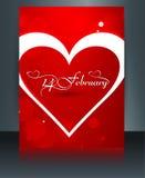 Broszurka szablonu karta dla valentine dnia serca pięknego Zdjęcia Stock