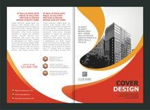 Broszurka, ulotka, szablonu projekt z pomarańcze i Żółty kolor, royalty ilustracja
