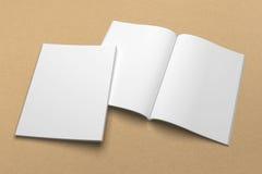 Broszurki 3D ilustracyjny mockup na przetwarzającej papierowej teksturze Żadny 1 Fotografia Stock