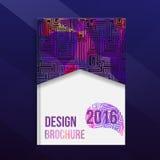 Broszurki pokrywy projekta szablon z abstrakcjonistycznymi geometrycznymi liniowymi kształtami Labirynt broszurki pokrywa dla twó Zdjęcia Royalty Free