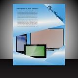 Broszurki prezentaci szablon z elektronicznymi elementami ilustracja wektor