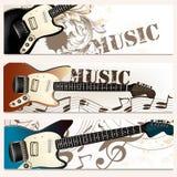 Broszurki wektorowy ustawiający na muzycznym temacie z basowymi gitarami Fotografia Royalty Free