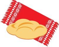 Brot auf der dekorativen Serviette Lizenzfreie Stockfotos