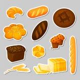 Brot Aufkleber stellten lokalisiert ein Bäckerei - Karikaturart stockbild