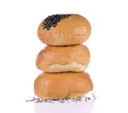 Brot drei auf weißem Hintergrund Lizenzfreies Stockfoto