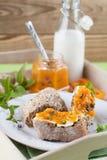 Brot mit Aprikosen- und Minzenstau Stockbild