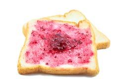 Brot mit Blaubeermarmelade Stockbild