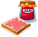 Brot mit Erdbeeremarmeladenglas Stockfoto