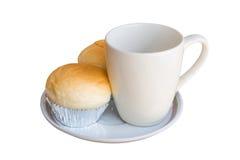 Brot mit leerem Tasse Kaffee Lizenzfreies Stockbild