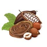 Brot mit Schokoladenmasse, Haselnüssen und Kakao Lokalisiert auf dem weißen Hintergrund stock abbildung