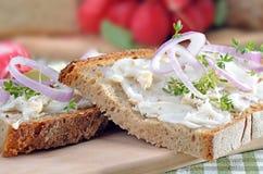 Brot mit Schweinefett Stockfotos