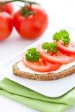 Brot mit Tomate Stockbilder