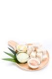 Brot mit Vanillepudding, pandan Vanillepudding, Kürbisvanillepudding und thailändischem Tee Lizenzfreie Stockfotos