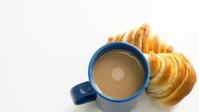 Brot mit Zeit der Kaffeetasse morgens Lizenzfreies Stockfoto