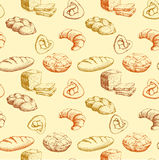 Brot Nahtloses Muster der Bäckerei buntes Hintergrundlaib, Stangenbrot, Backwaren, Hörnchen, kleiner Kuchen, Bagel Lizenzfreies Stockfoto