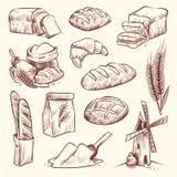 Brot-Skizze Getreidemühle-Stangenbrotfranzosen backen Bäckereikorbkorngebäcktoast-Scheibensatz des Brötchennahrungsmittelweizens  lizenzfreie abbildung