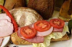 Brot und Fleisch stockfotos
