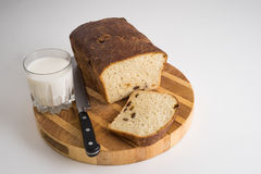 Brot- und Milchmahlzeit stockfotos