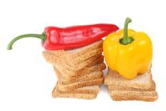 Brot und süßer Paprika Lizenzfreie Stockbilder