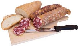 Brot und Salami Lizenzfreie Stockbilder