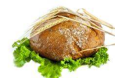 Brot und Salat. Getrennt auf dem Weiß. Stockfotos